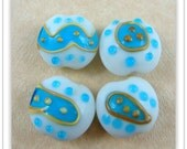 Lampwork Beads, Blue and White Beads, Set of 4 Lamp Work Beads - Blue & White - 18-20mm