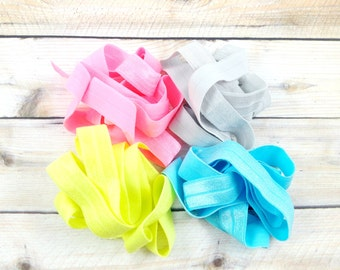"""20 yards 5/8"""" Fold Over Elastic - Summer/Fall Set No.1- 5 Yards Each Color - Lt. Turquoise, Passion Fruit Pink, Lt. Gray and Neon Yellow"""