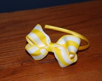 Yellow and White Stripe Bow Headband / Toddler Headband / Bow Headband / Satin Wrapped Headband / Adult Headband
