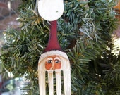 """4"""" RED Curly Fork Santa Claus Painted Christmas Ornament """"Back in stock"""""""