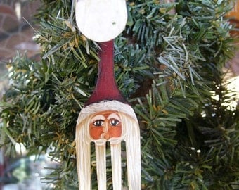 "4"" RED Curly Fork Santa Claus Painted Christmas Ornament ""Back in stock"""