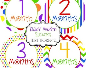 Rainbow Monthly Baby Stickers Make Great Baby Shower Gifts..Bonus Just Born Sticker Included
