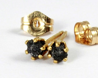Rough Diamond Tiny Stud Earrings - 14K Gold Filled, 3mm - Black Raw Diamonds - April Birthstone