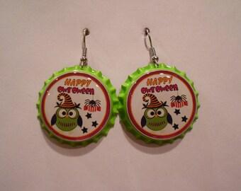 Halloween Owl bottle cap earrings