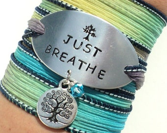 Silk Wrap Bracelet, Just Breathe, Yoga, Jewellery, Hand Stamped, Jewelry, Gift For Her Christmas, Stocking Stuffer, Wrap Bracelet, Engraved