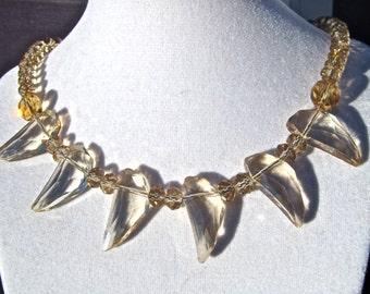 Chunky Crystal Statement Necklace, Champagne Gold Crystal, Crystal Spike, Angel Wing Necklace, Crystal Bib, Sparkly Jewelry   403