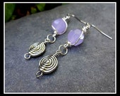 Hand Wire Wrapped Opaque Lavender Faceted Celestial Crystal Bead Dangling Earrings with Silver Swirl Bead