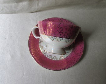 1940s American.   Pedestal Tea Cup and Saucer. Mauve and White Lustre.Valentine Gift,Wedding Gift,Mothes Day Gift,Housewarming Gift