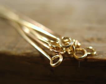 Handmade Gold Eye Hook Head Pins 24/26 Gauge R1023 - Gold Filled Headpins, Eyehook Headpins, Handmade Headpins, 2 Inch Headpins, 24 Gauge
