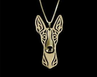 Ibizan Hound - Gold pendant and necklace