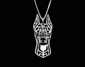 German Pinscher (cropped ears) - sterling silver pendant and necklace.