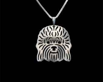 Dandie Dinmont Terrier jewelry - sterling silver pendant and necklace