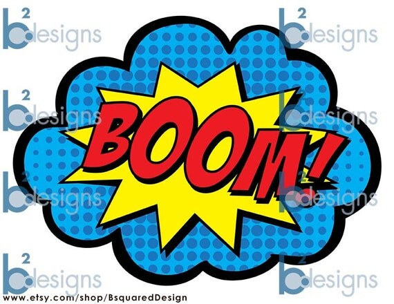 Superhero Party Signs • Boom, Pow, Zap, Bam, Pop • 8.5 x 11 • PC color • INSTANT DOWNLOAD