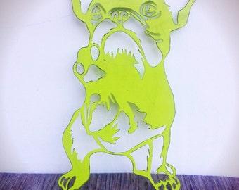 BOLD french bulldog metal wall art // chartreuse lime green // rustic shabby chic puppy dog laser cut decor // animal pet kids room decor