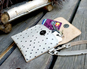 SALE Stylish leather key case leather, leather credit card case, beige and black leather