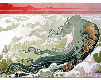 Henri Privat-Livemont THE WAVE - Digitally Remastered Fine Art Print / Poster
