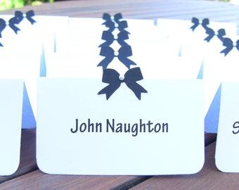 Customize Any Color, 10 Wedding Place Cards / Escort Cards, Bridal Shower, Birthday, Black Ribbon Pearl, Customize Any Color, Name Printing