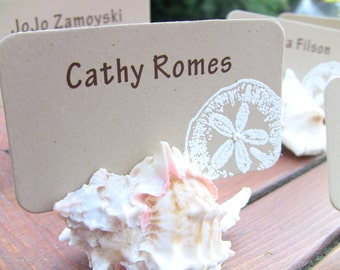 Customize Any Color, 10 Sand Dollar Wedding Place Cards, Escort Cards, Beach Wedding, Bridal Shower, Nautical, Names Printed