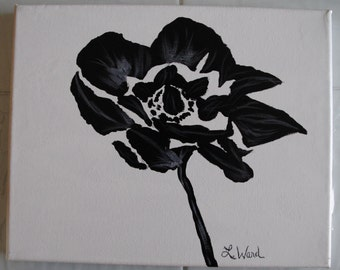"Original, signed Simple black flower on 8""x10"" white canvas."