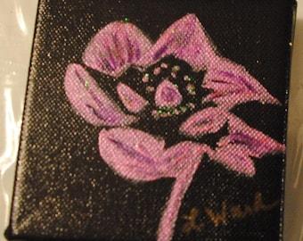 "Original Fuscia Flower painted on a 4"" x 4"" canvas."