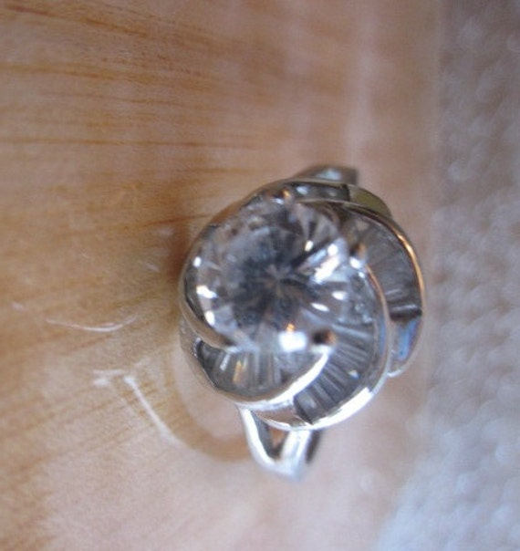 vintage rsc 925 sterling silver cz ring size 9 by