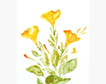Yellow flowers original watercolor painting Floral art