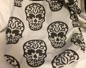 LIMITED EDITION Black and White goth Sugar skull print REVERSIBLE CrossBody Bag