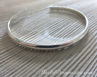 Sterling Silver Cuff Bracelet Mirror Finish Half Round Sleek and Modern Unisex Made of 925 Silver by MaDilDesigns