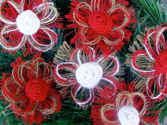 Rustic Burlap Christmas Tree Ornaments Set Of 8 Burlap