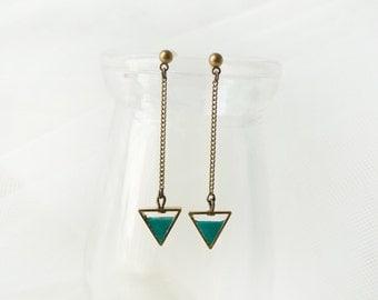 Green Triangle Earring