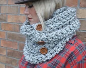 Chunky Crochet Cowl Infinity Scarf Heather Gray