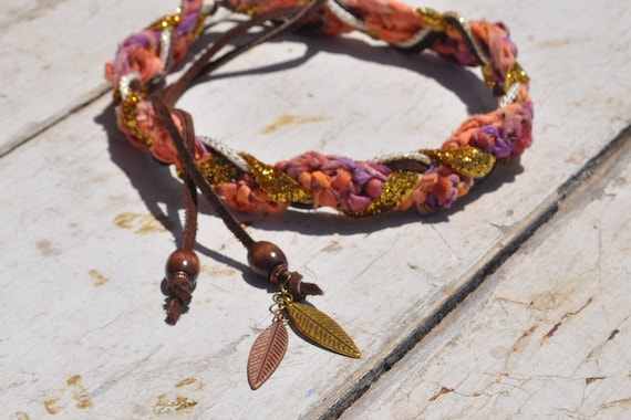Braided Headband Hippie Style Crochet with Gold Sparkle Ribbon & Suede Tie