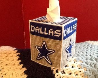 Plastic canvas tissue box cover Cowboys