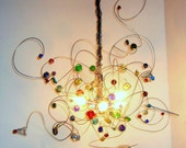 Colorful wire Chandelier,  Children hanging lamp, bright glass marbles, 5 fitting E14, Halogen or LED, one of a kind