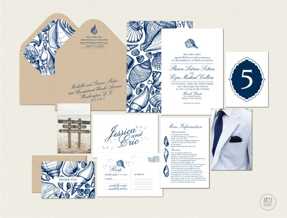 Printable Beach Wedding Invitations: BEACH WEDDING INVITATIONS Printable Design Navy By