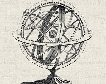 Vintage Astrological Globe Sphere Illustration Astronomy Astrology Download and Print Digital Sheet Image Transfer INSTANT DOWNLOAD