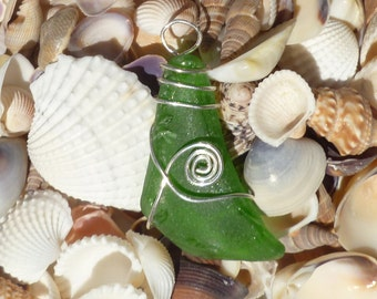Authentic Green Beach Glass sterling silver pendant