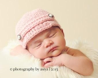 Crochet Baby Girl Newsboy Hat, Multiple Sizes