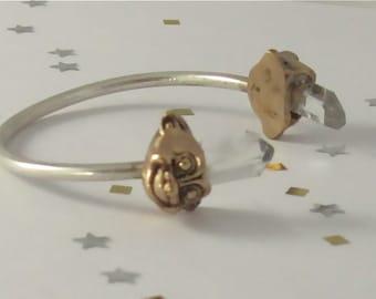 troll head bracelet with crystal hair. two tone