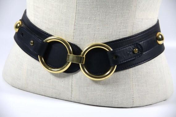 cherryrevolver womens wide belthorsebit gold ring navy