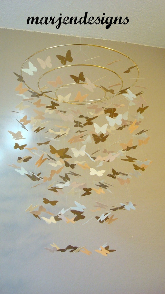 Gold butterfly mobile unique baby mobile crib by marjendesigns for Unusual baby mobiles