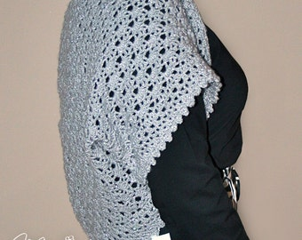 Silver BOLERO / Bridesmaid Crocheted Shrug / Elegant Gray Handmade Vest / OOAK Platinum Short Sleeve Bolero
