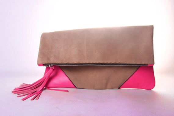 Oversized Leather Clutch in Magenta/Pink