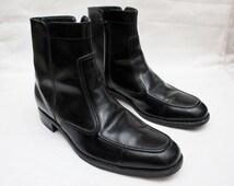 """90's Vintage """"FLORSHEIM"""" Black Leather High-Top Boots Sz: 11 (Men's Exclusives)"""