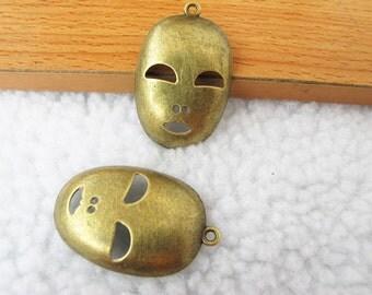 8 pcs 26x40mm Antique Bronze Lovely Mask Charm Pendant Jewelry Supplies A1019-8B