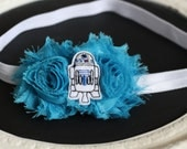 R2D2 Star Wars Felted Center on Turquoise Shabby Chic Flowers on White Headband