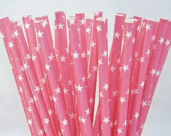 PINK STARS 25 Paper Straws Rock Star, Cowgirl, 80's, Birthday , Girls nite, Party,  BBQ, Cookout, Western Party