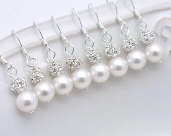 4 Pairs Pearl Bridesmaid Earrings, 4 Pairs Bridesmaid Earrings, Pearl and Rhinestone Earrings, Pearl Earrings, Sterling Silver Earrings 0061
