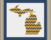 Chevron stripe Michigan silhouette: cool cross-stitch pattern