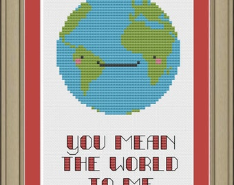 You mean the world to me: cute earth cross-stitch pattern